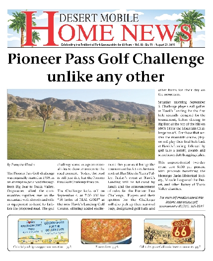 August 27, 2015 Desert Mobile Home News