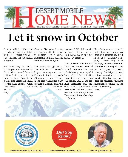 October 8, 2015 Desert Mobile Home News