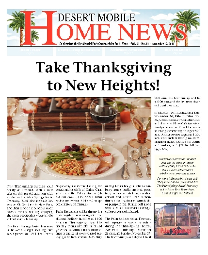 November 19, 2015 Desert Mobile Home News