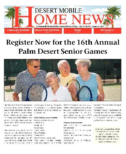 January 21, 2016 Desert Mobile Home News