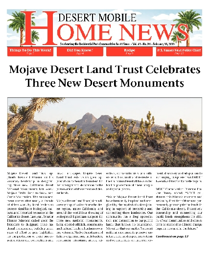 February 18, 2016 Desert Mobile Home News