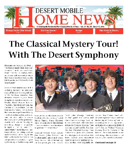 March 17, 2016 Desert Mobile Home News