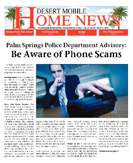March 24, 2016 Desert Mobile Home News