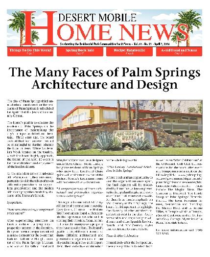 April 7, 2016 Desert Mobile Home News